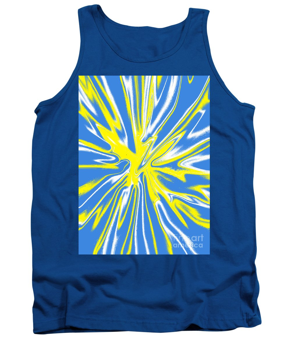 Blue Tank Top featuring the digital art Blue Yellow White Swirl by Christopher Shellhammer