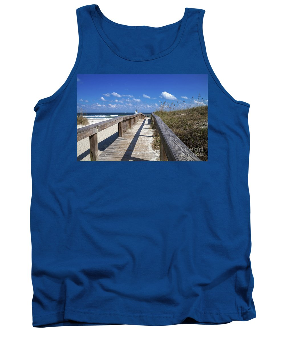 Neptune Beach Tank Top featuring the photograph Boardwalk To Paradise by Diane Macdonald