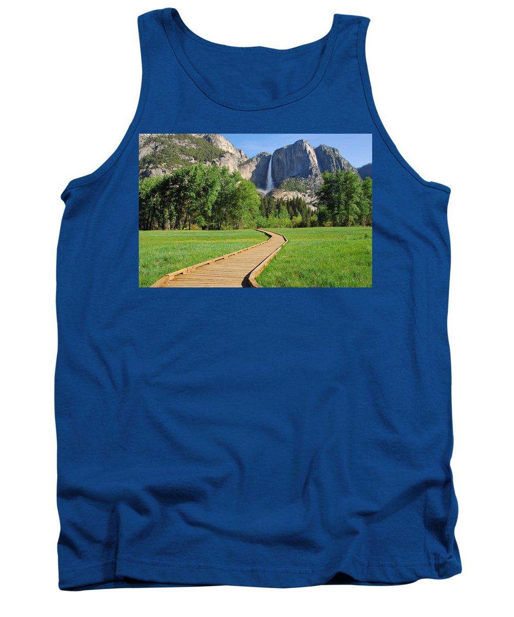 Yosemite National Park Tank Top featuring the photograph Boardwalk To Yosemite Falls by Lynn Bauer
