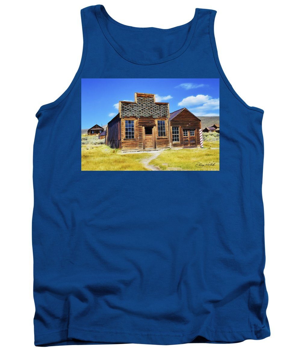 Bodie Ca Tank Top featuring the photograph Bodie Barbershop And Store by Doug Holck