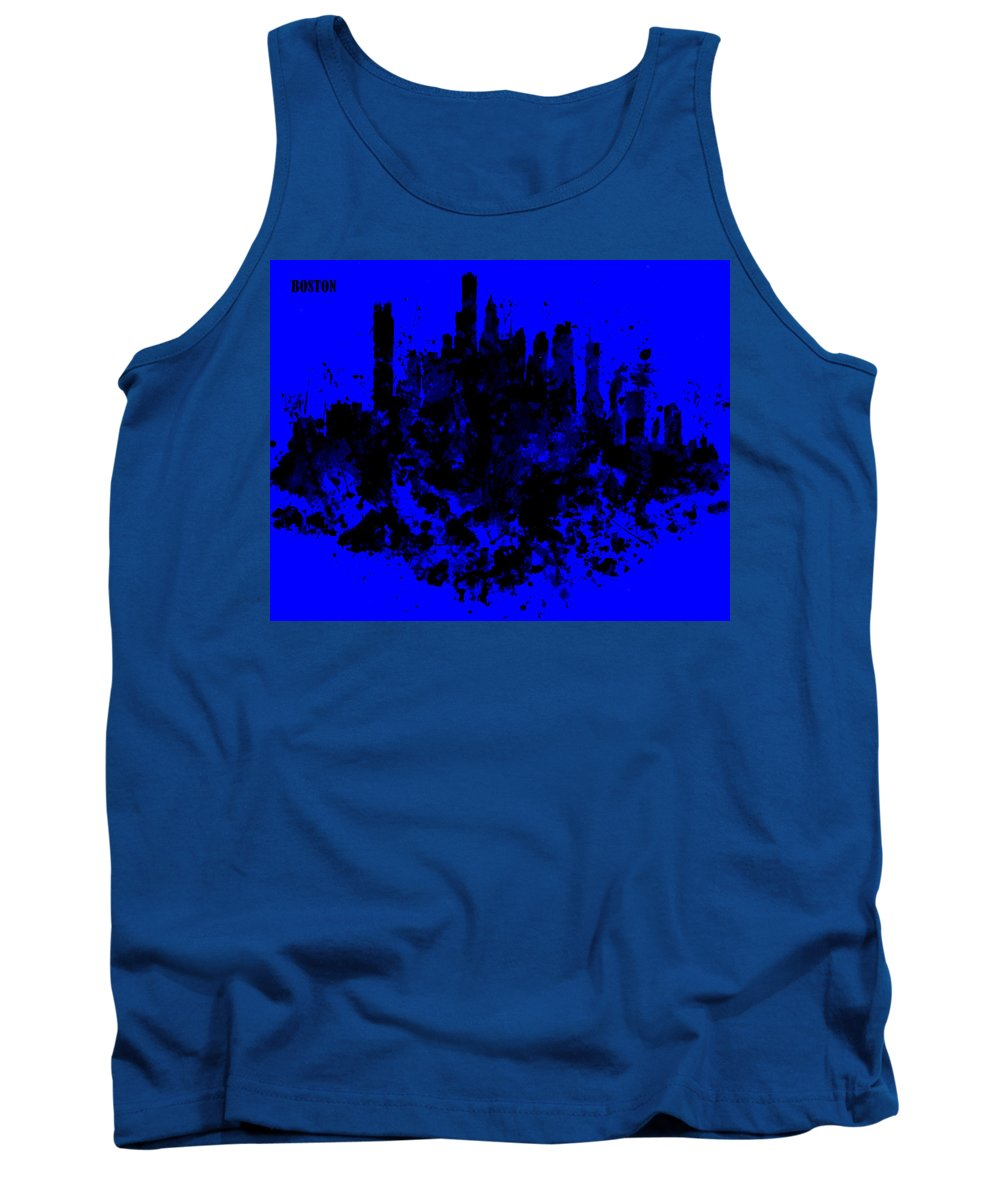 Skyline Tank Top featuring the painting Boston Skyline Paint Splash 2 by Brian Reaves