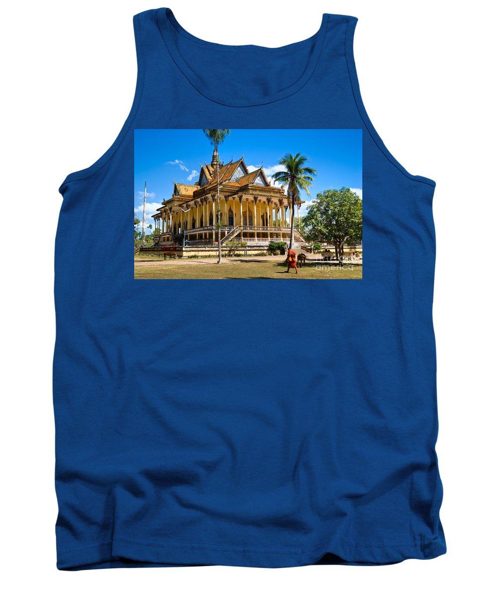 Cambodia Tank Top featuring the photograph Buddhist Temple In Kratje - Cambodia by Luciano Mortula