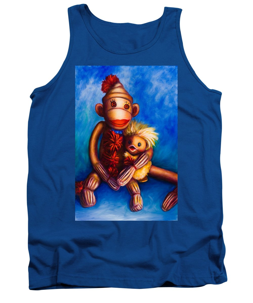 Sock Monkeys Brown Tank Top featuring the painting Buddies by Shannon Grissom
