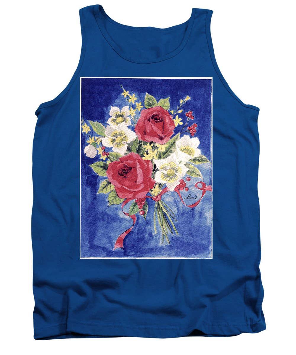 Bunch Of Flowers Tank Top featuring the painting Bunch Of Flowers by Alban Dizdari