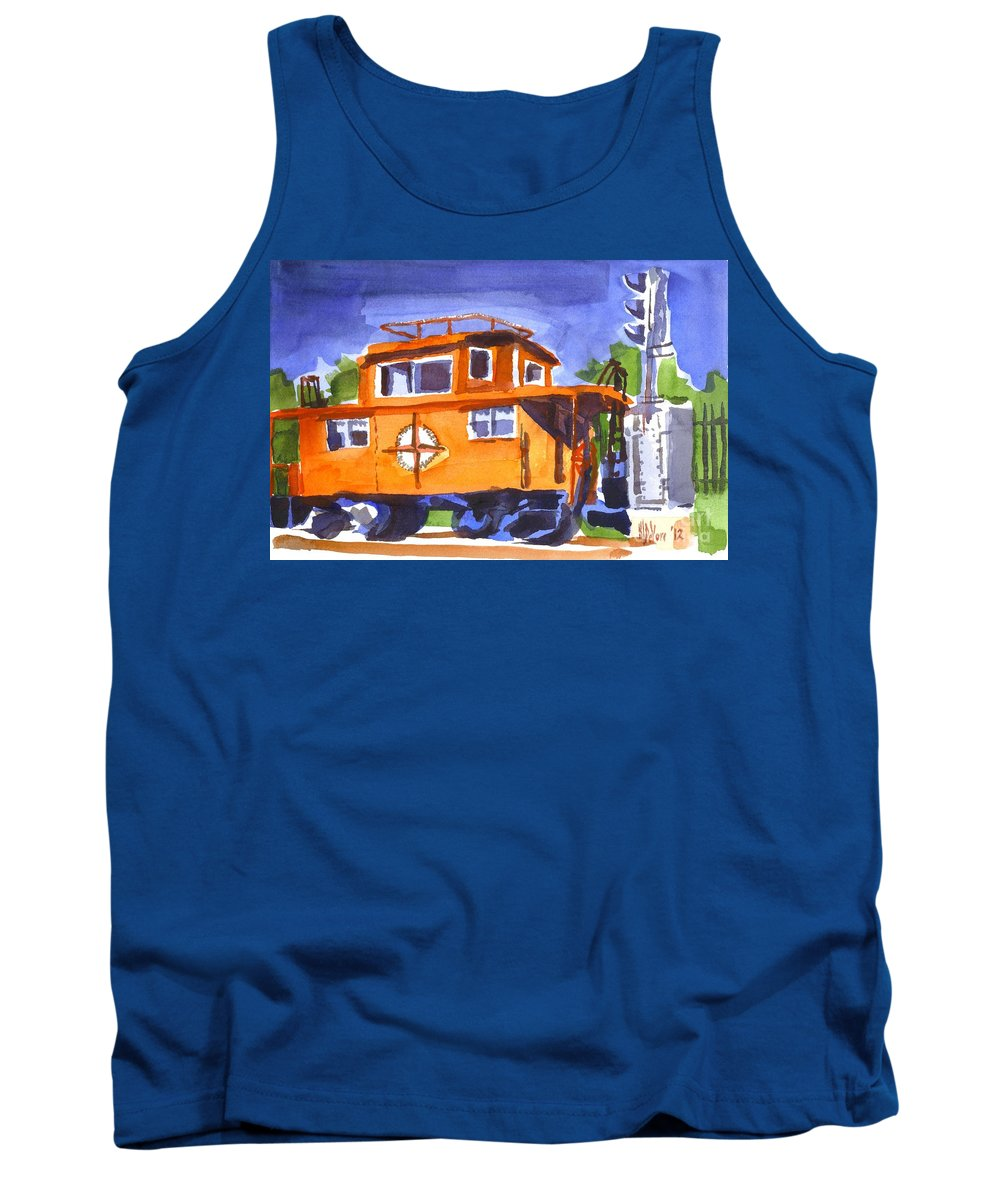 Caboose With Silver Signal Tank Top featuring the painting Caboose With Silver Signal by Kip DeVore