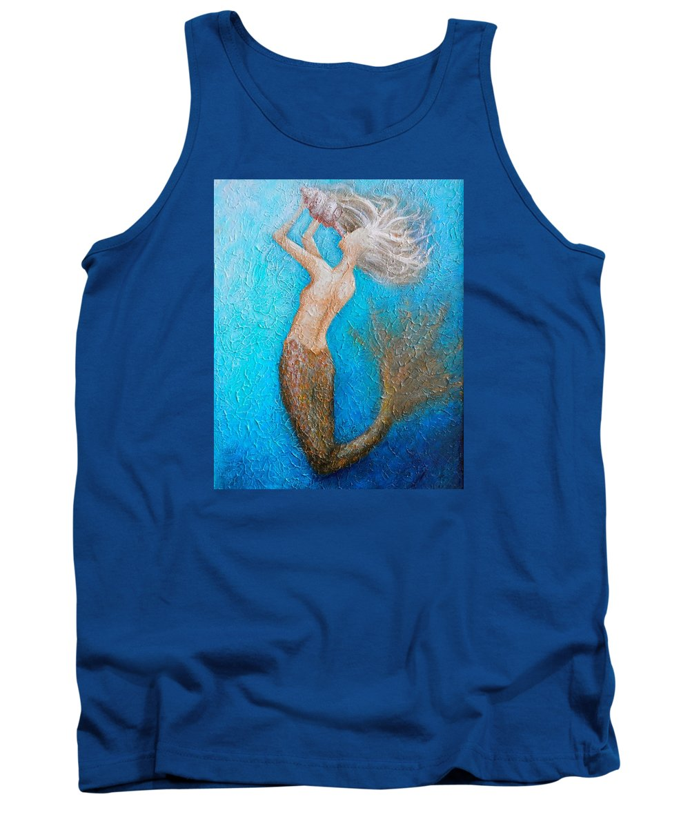 Mermaid Artwork Tank Top featuring the painting Call Of The Siren by Nancy Quiaoit
