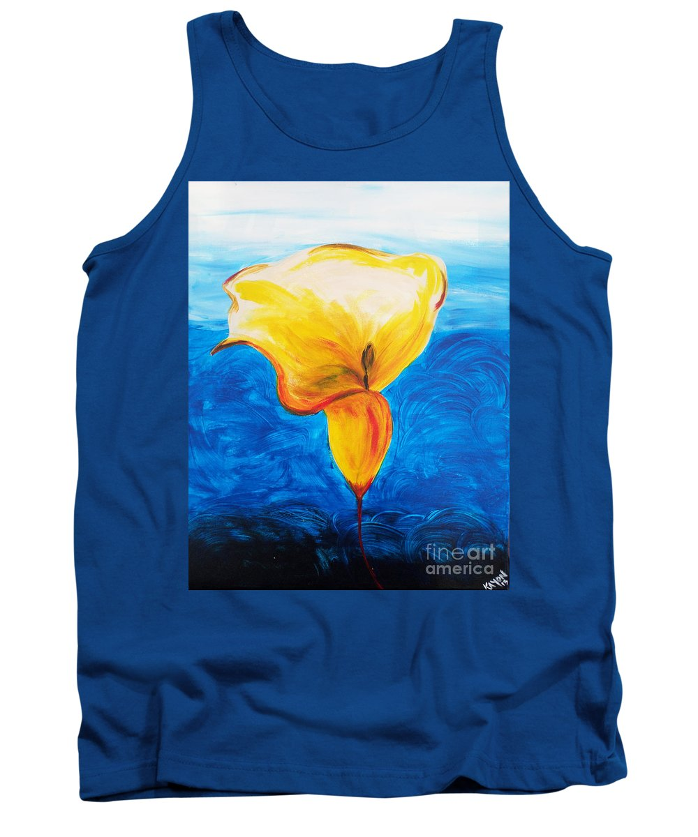 Blue Tank Top featuring the painting Calla Lily by Kayon Cox