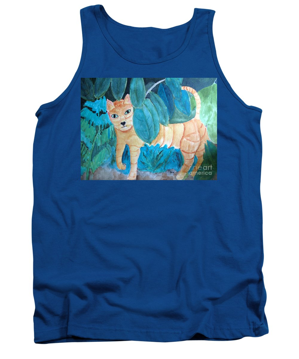 Cat Tank Top featuring the painting CAT by Sandy McIntire