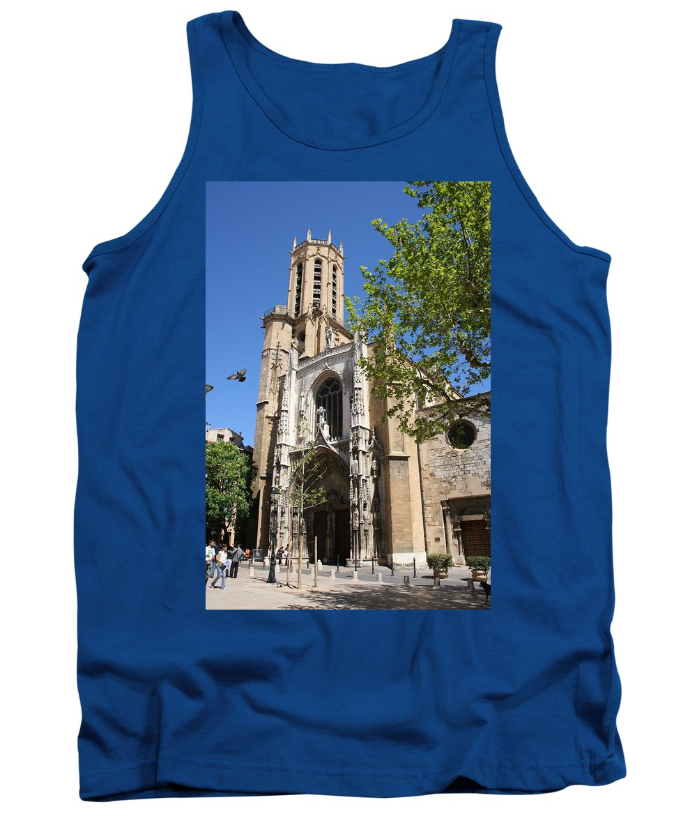 Cathedral Tank Top featuring the photograph Cathedral St Sauveur - Aix En Provence by Christiane Schulze Art And Photography