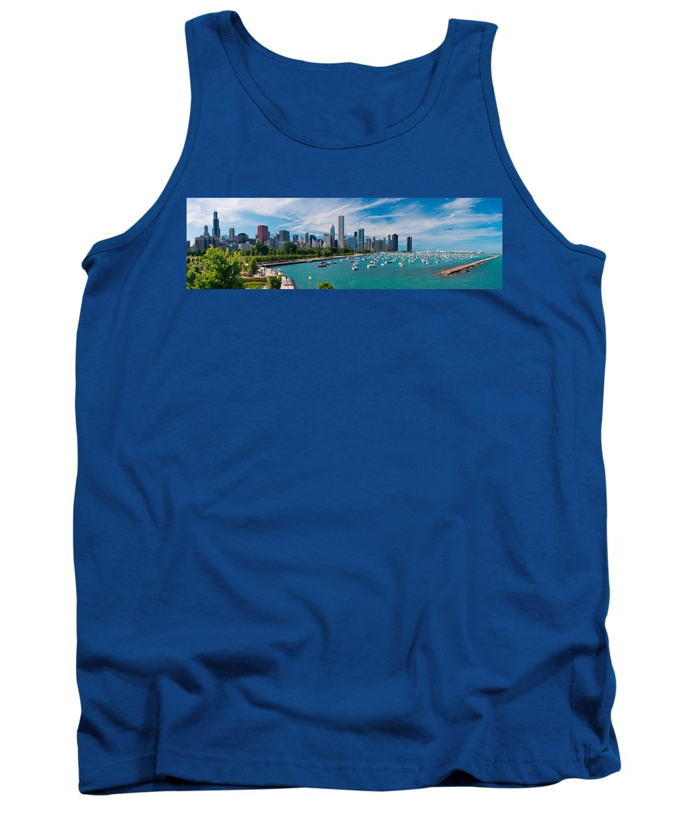 3scape Tank Top featuring the photograph Chicago Skyline Daytime Panoramic by Adam Romanowicz