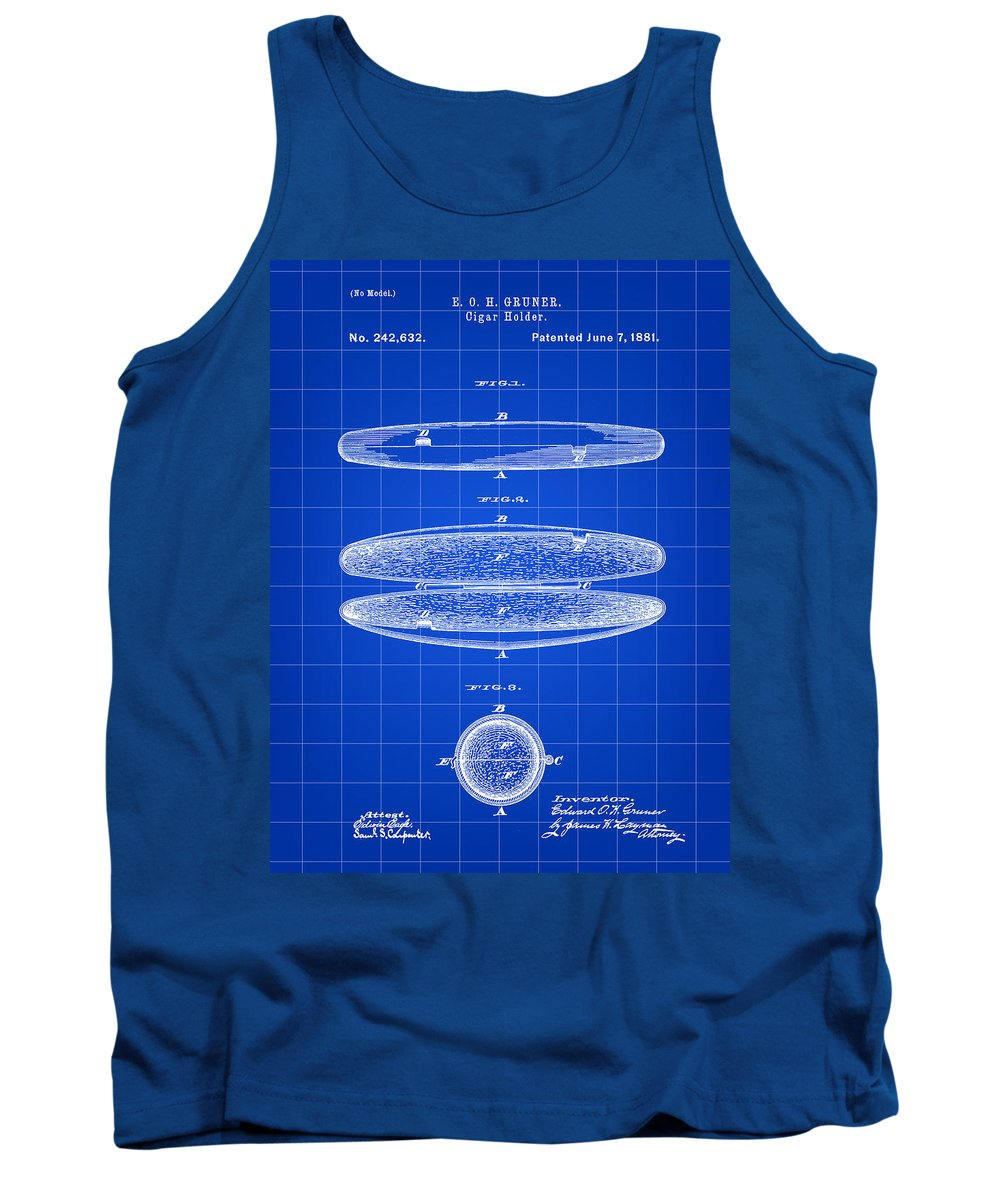 Cigar Tank Top featuring the digital art Cigar Holder Patent 1881 - Blue by Stephen Younts