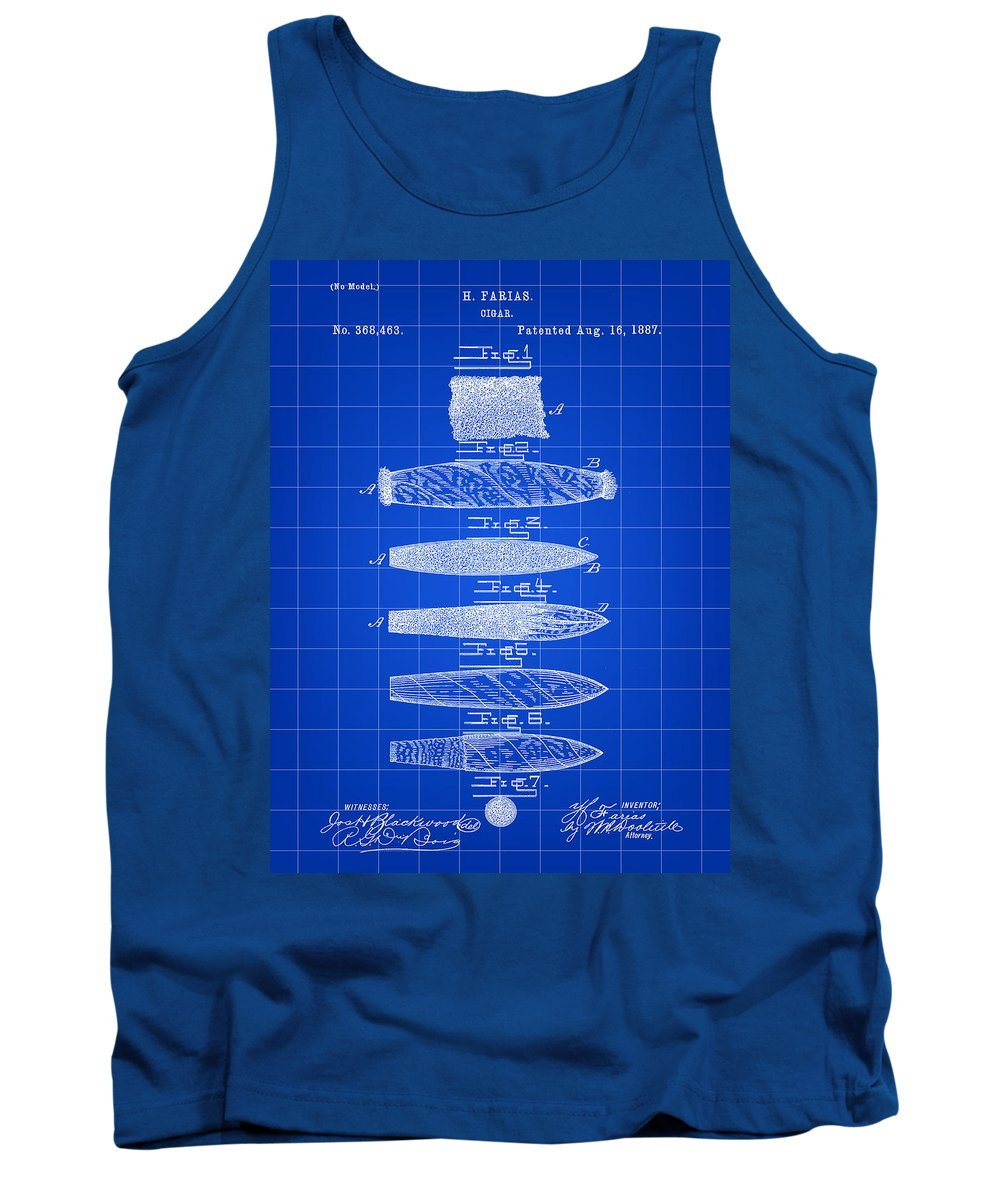Cigar Tank Top featuring the digital art Cigar Patent 1887 - Blue by Stephen Younts