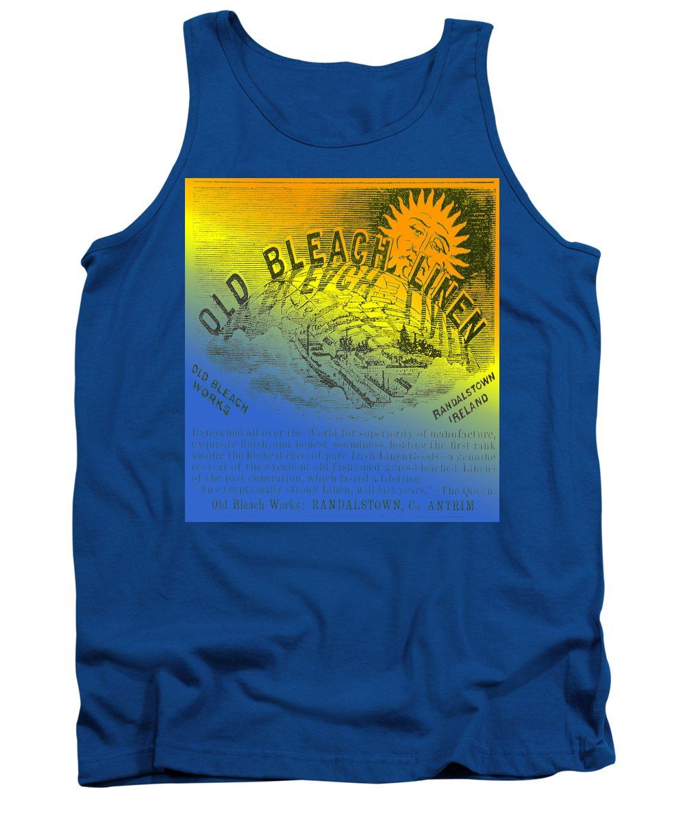 Old Bleach Linen Tank Top featuring the digital art Colorful Old Bleach Linen Ad by Cathy Anderson