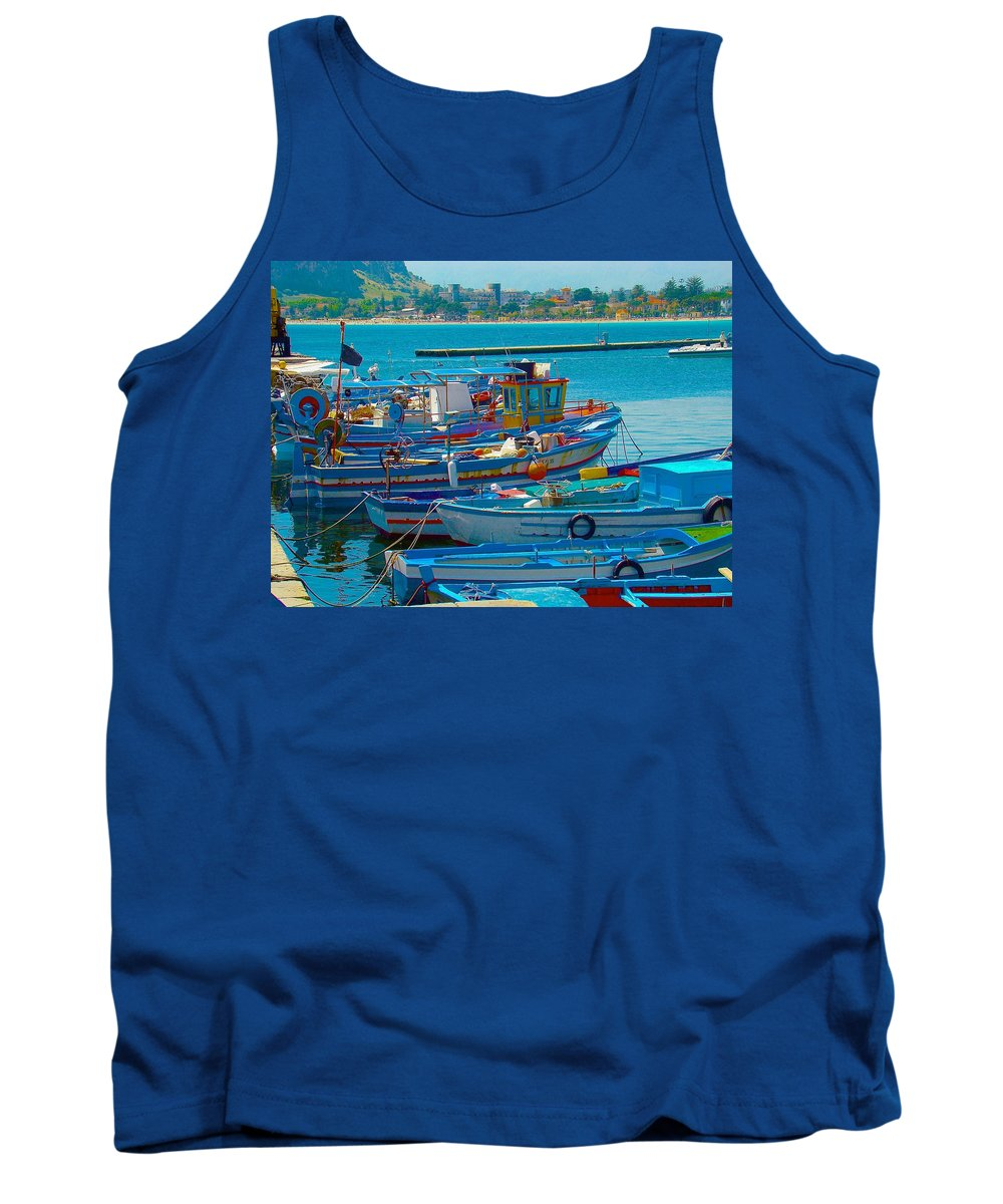 Travel Tank Top featuring the photograph Colors Of A Fishing Fleet by Tim G Ross