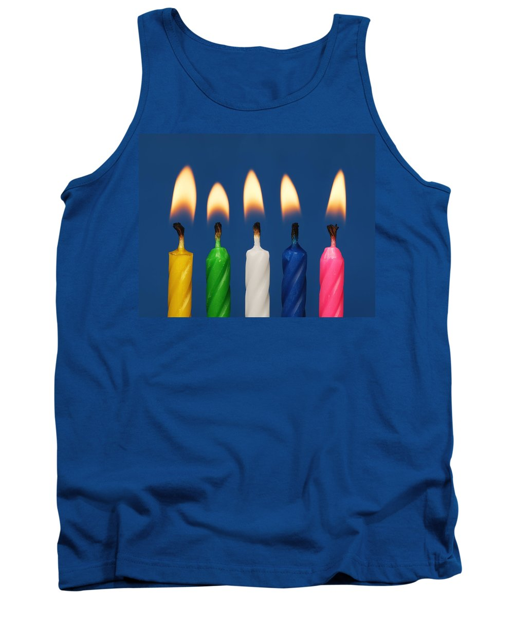 Alike Tank Top featuring the photograph Colourful Candles Lit by Darren Greenwood