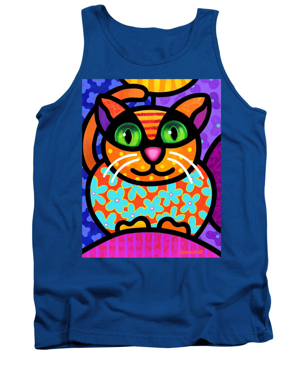 Cat Tank Top featuring the painting Contented Cat by Steven Scott