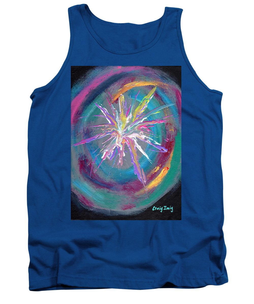 Colorful Cosmic Tank Top featuring the painting Cosmic Activity 11 by Craig Imig
