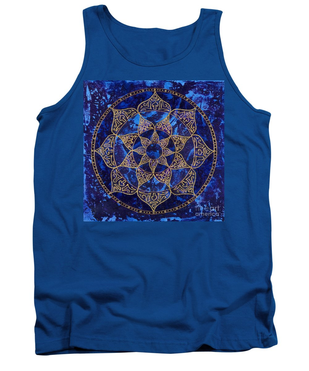 Mandala Tank Top featuring the painting Cosmic Blue Lotus by Charlotte Backman