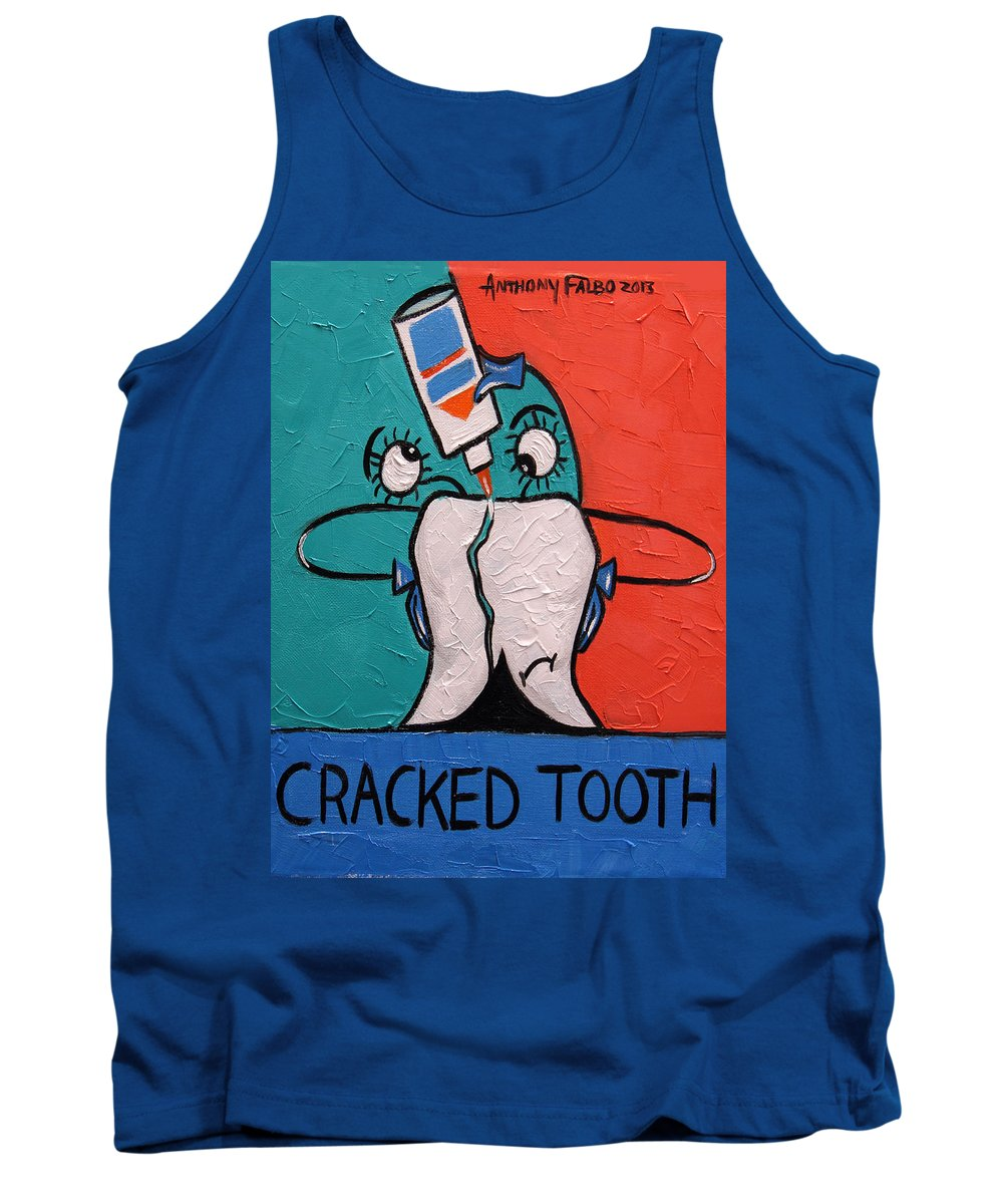 Cracked Tooth Tank Top featuring the painting Cracked Tooth by Anthony Falbo
