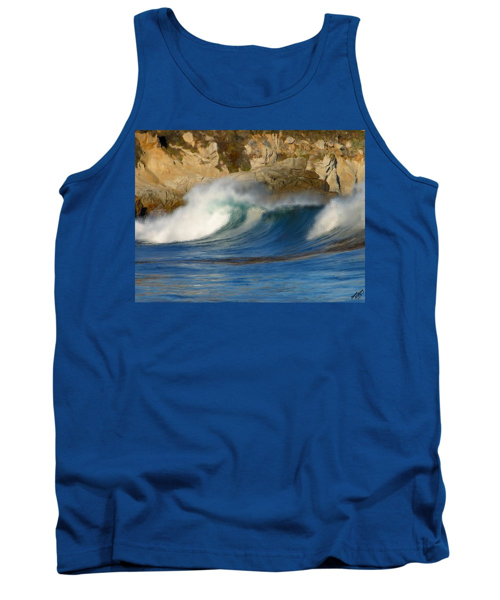 Ocean Tank Top featuring the painting Crashing On The Cliff by Bruce Nutting