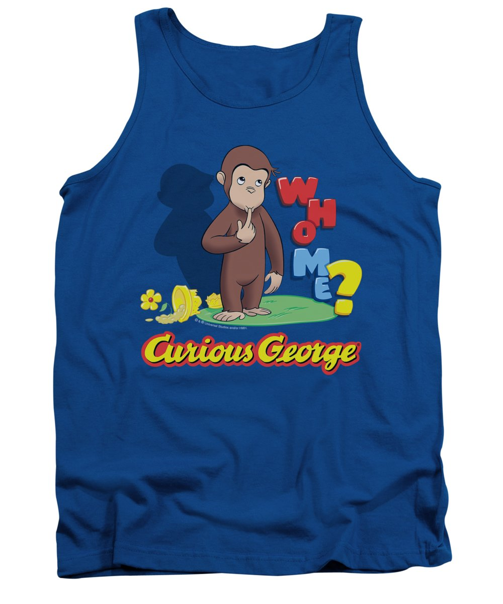 Curious George Tank Top featuring the digital art Curious George - Who Me by Brand A