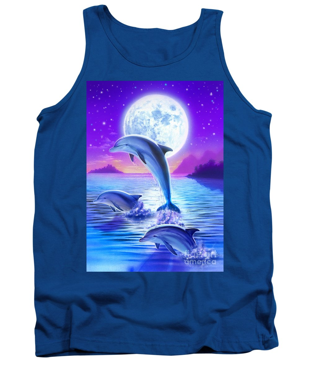 Robin Koni Tank Top featuring the digital art Day Of The Dolphin by Robin Koni