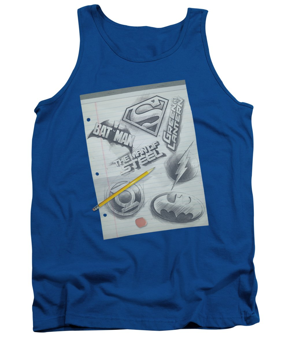 Dc Comics Tank Top featuring the digital art Dc - Logo Note Paper by Brand A