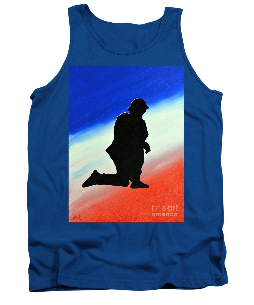 Desert Duty Tank Top featuring the painting Desert Duty II by Alys Caviness-Gober