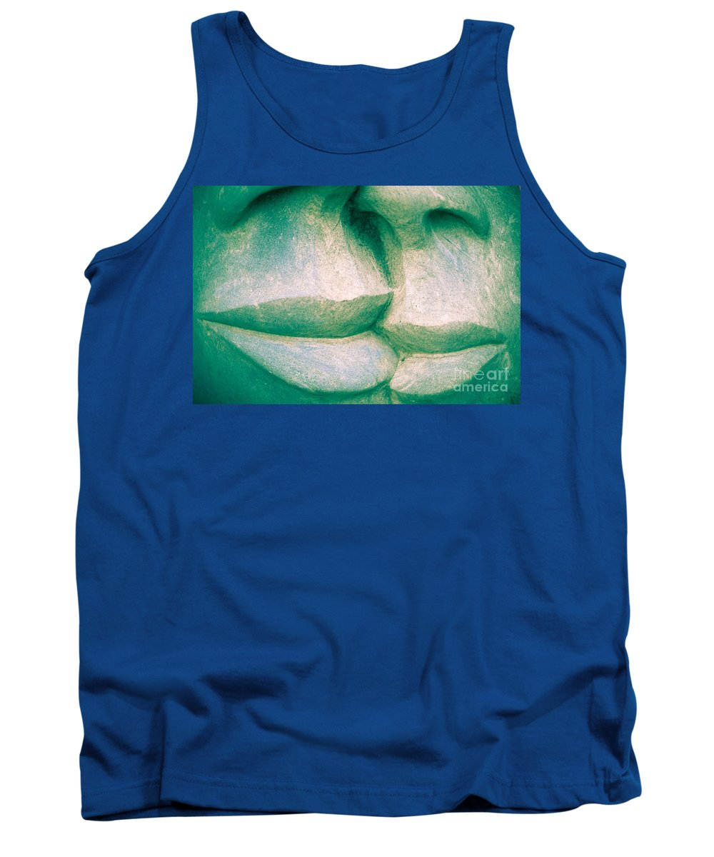Art Tank Top featuring the photograph Detail Of Human Sculpture With Lips Ready To Kiss by Stephan Pietzko