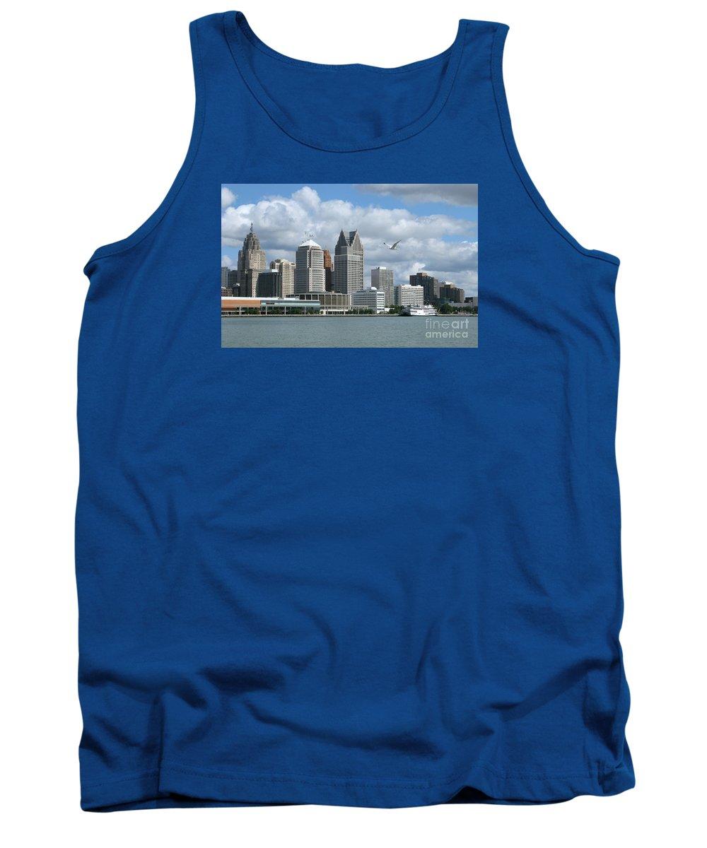 Detroit Tank Top featuring the photograph Detroit Riverfront by Ann Horn