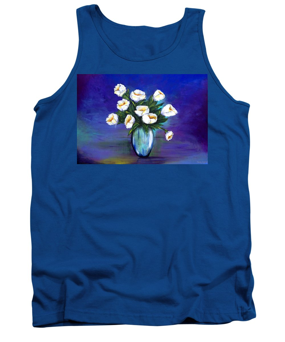 Floral Tank Top featuring the painting Diez Flores Blancas by Thelma Zambrano