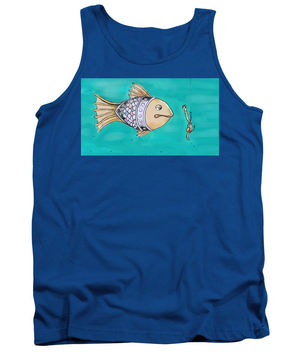 Fish Tank Top featuring the painting Don't Take The Bait by Dina Day