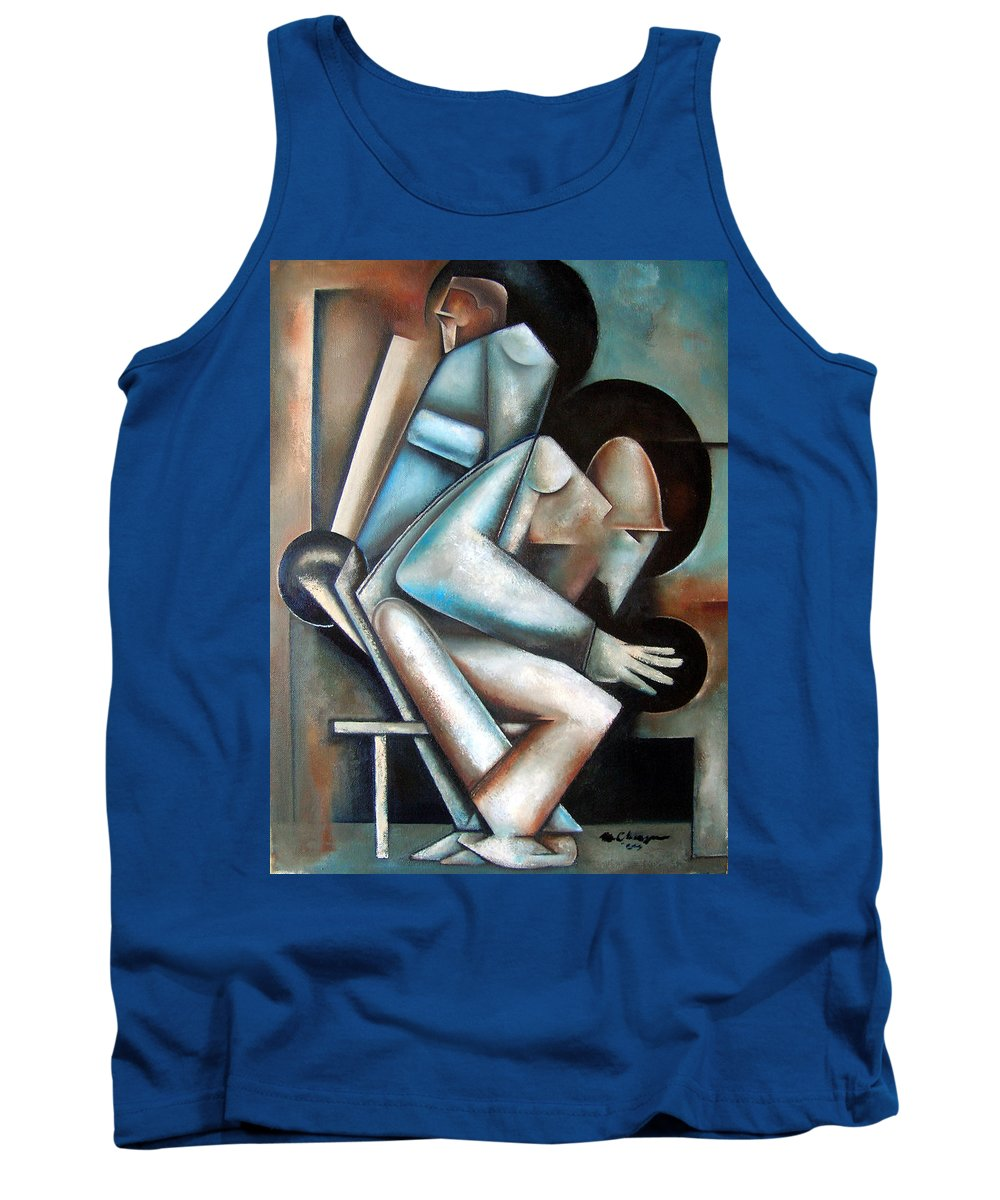 Jazz Cubism Thelonious Monk John Coltrane Tank Top featuring the painting Dual Mode by Martel Chapman