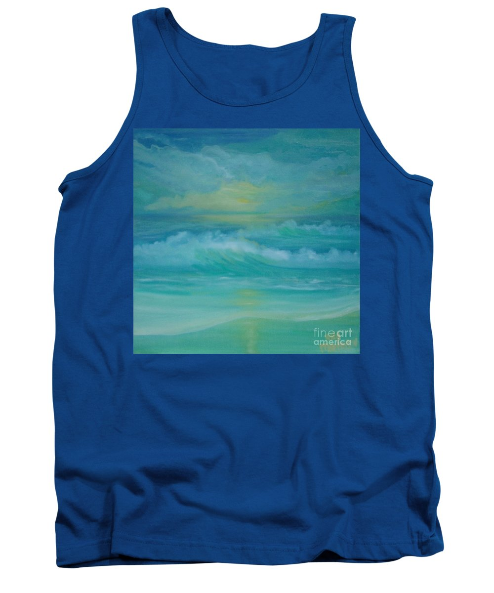 Seascapes Seascape Beach Ocean Waves Shore Coast Green Yellow Blue Clouds Storm Sunrise Sunset Water Sun Summer Tank Top featuring the painting Emerald Waves by Holly Martinson