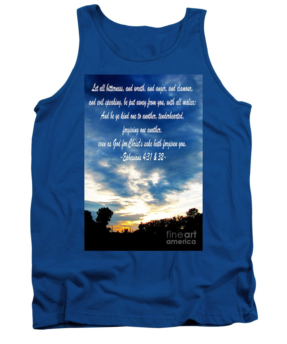 Jesus Christ Tank Top featuring the photograph Ephesians Four Thirtyone And Two by Ron Tackett