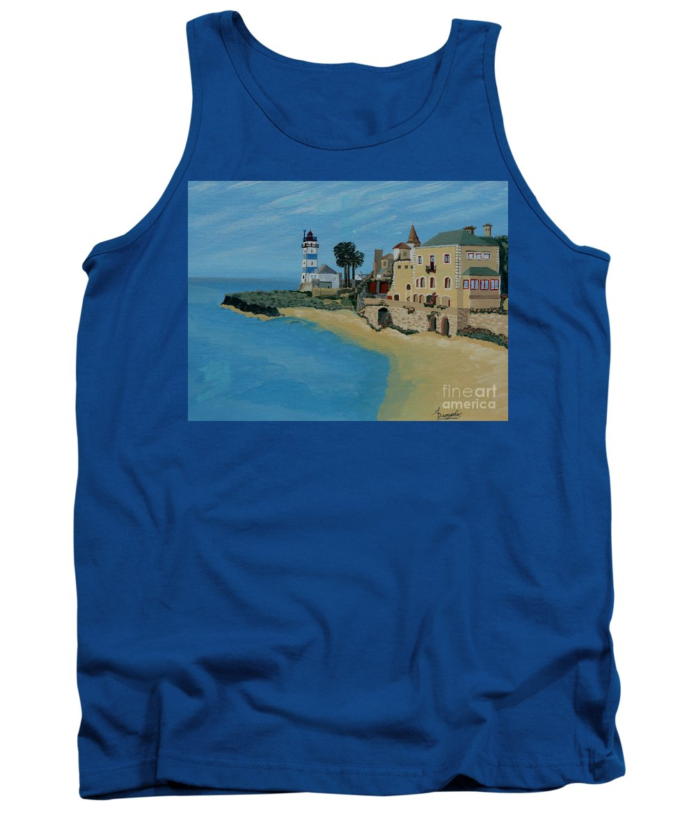 Lighthouse Tank Top featuring the painting European Lighthouse by Anthony Dunphy