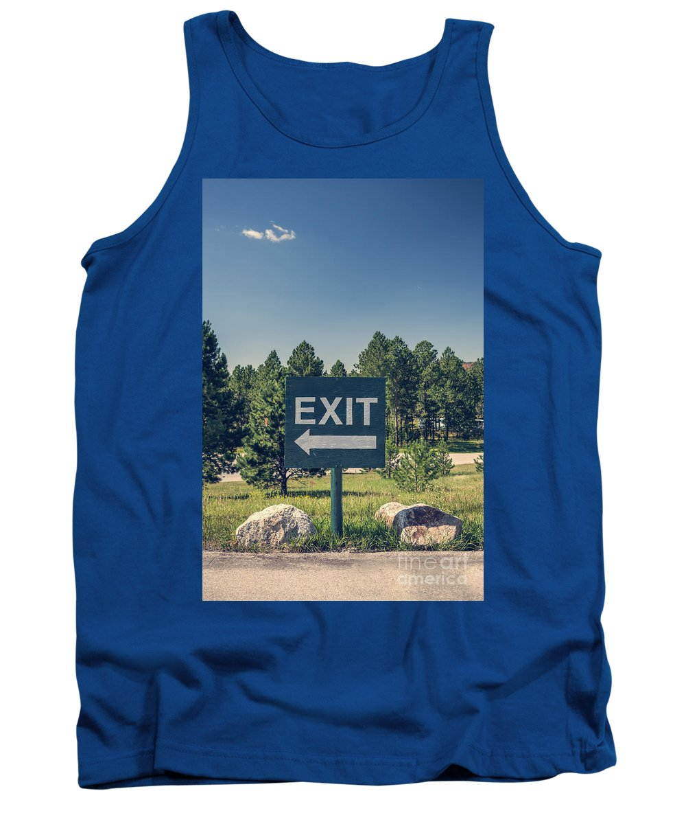 Arrow Tank Top featuring the photograph Exit Sign by Bryan Mullennix