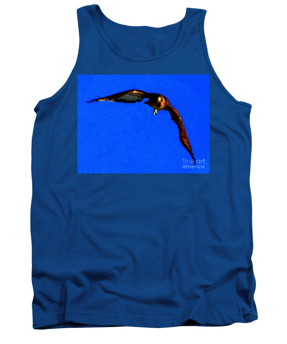 Ron Tackett Photography Tank Top featuring the photograph Falcon In Blue by Ron Tackett