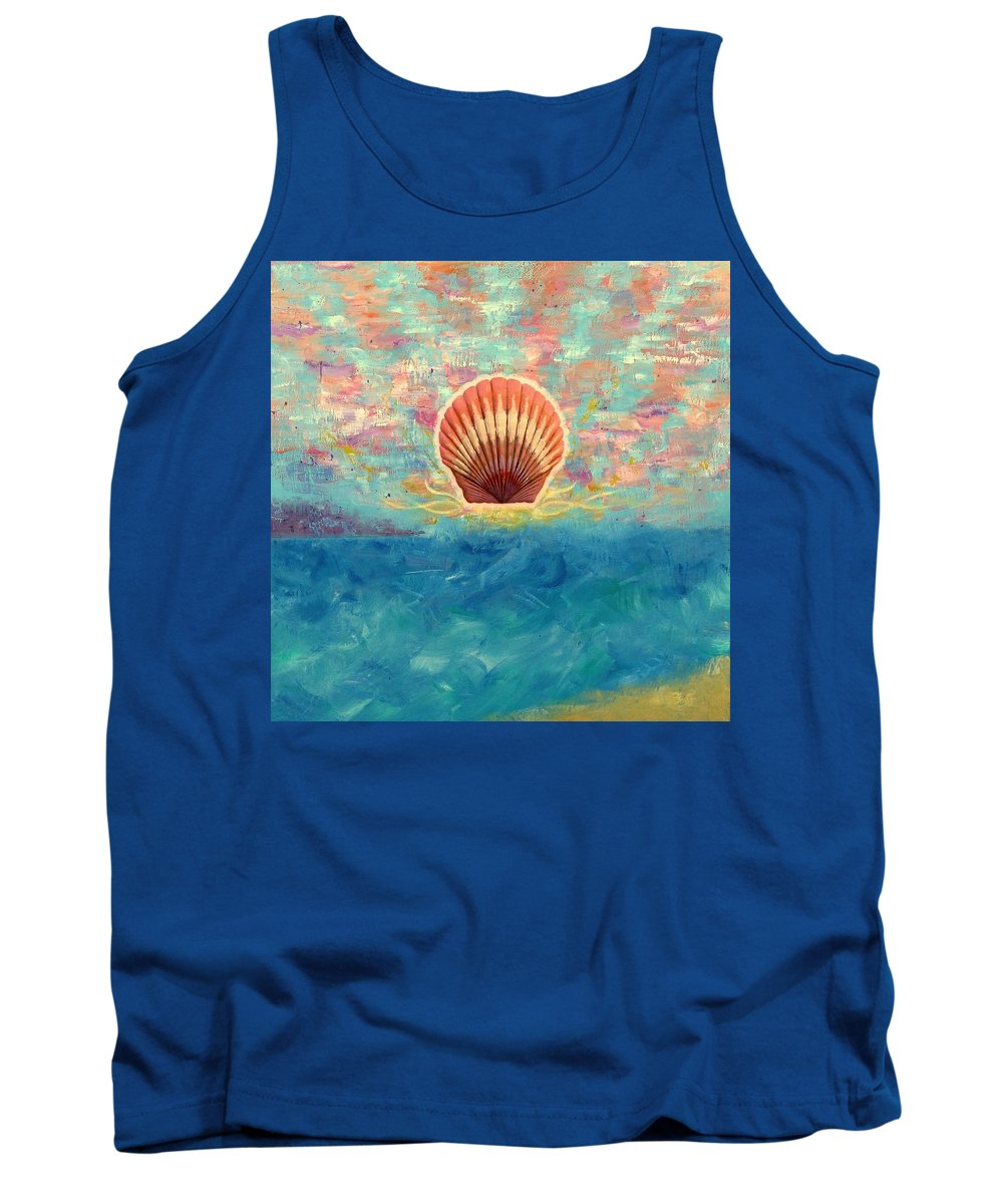 Scallop Shell Tank Top featuring the painting Finisterra by Jeff Sartain