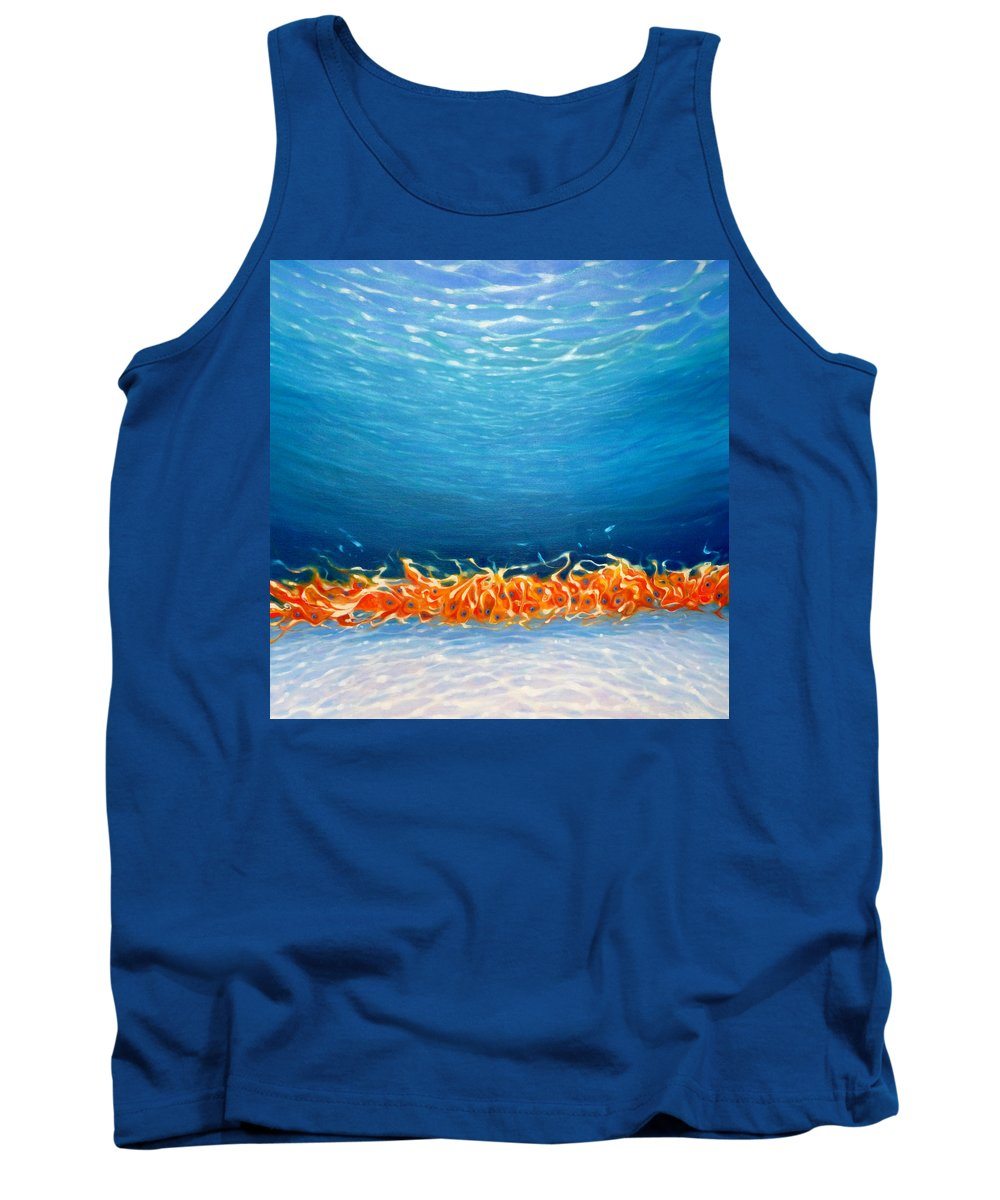 Fish Tank Top featuring the painting Fish Metamorphosis by Gill Bustamante