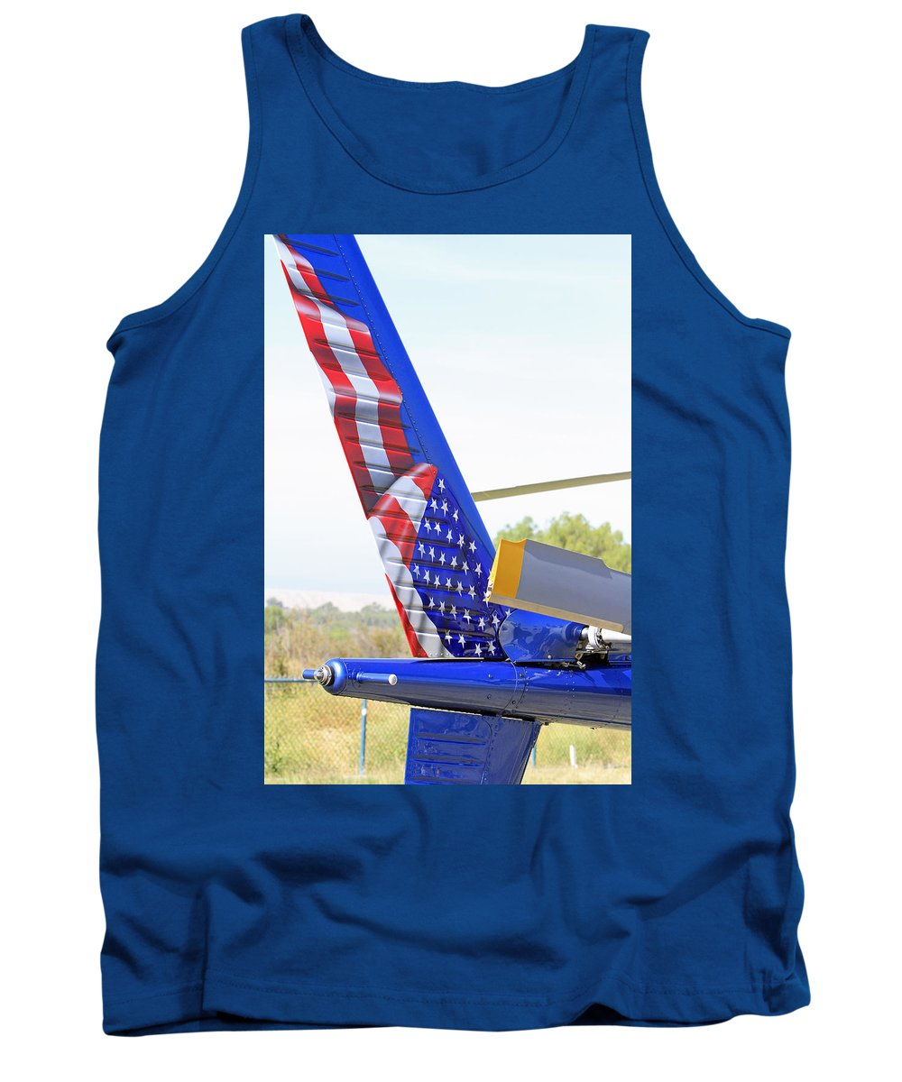Helicopter Tank Top featuring the photograph Flying Flag by Shoal Hollingsworth