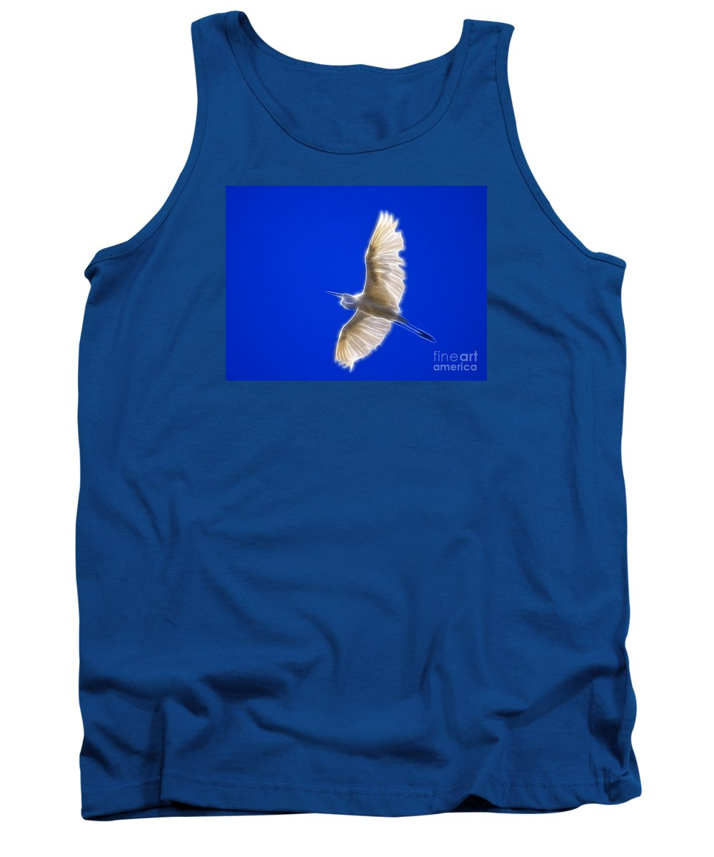Artistic Tank Top featuring the photograph Fractal White Egret by Beth Sargent