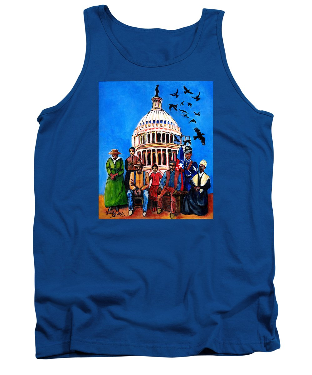 Everett Spruill Tank Top featuring the painting FREEDOM - Celebrating Juneteenth by Everett Spruill