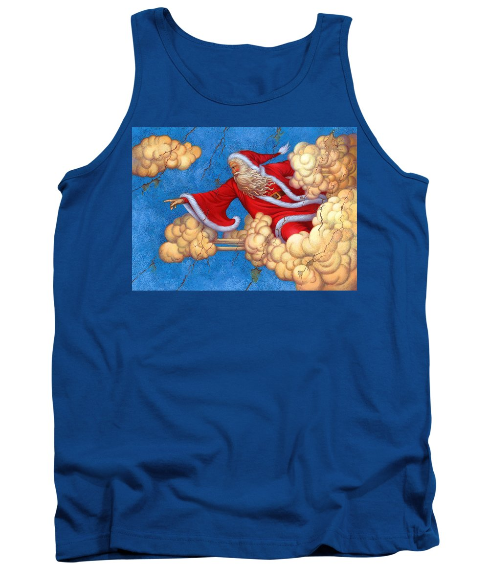 Carol Lawson Tank Top featuring the painting Fresco Father Christmas by Carol Lawson
