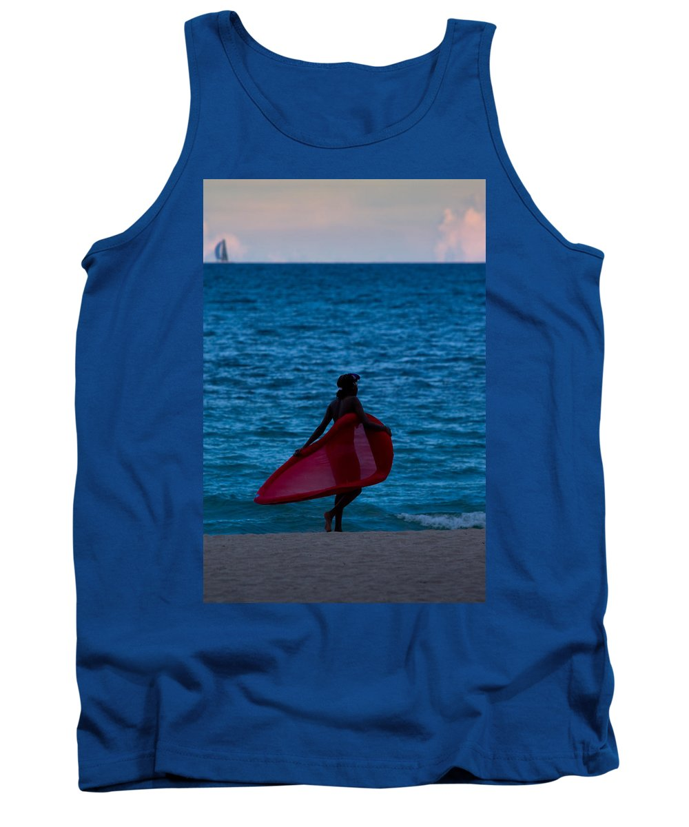 A1a Tank Top featuring the photograph Girl In Red Float by Ed Gleichman