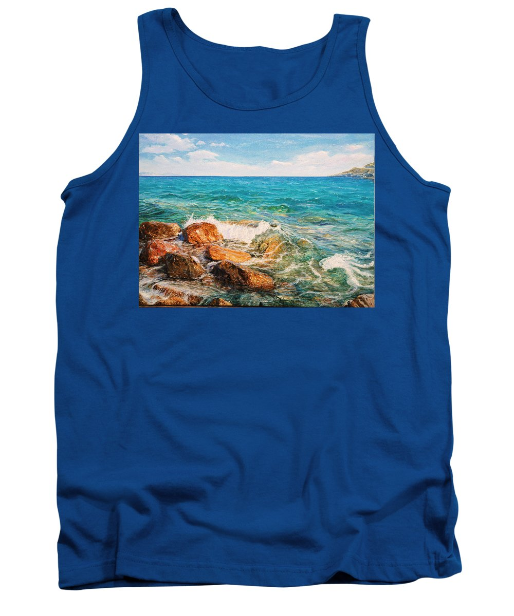 Seascape Tank Top featuring the painting Glifada 2 by Sefedin Stafa