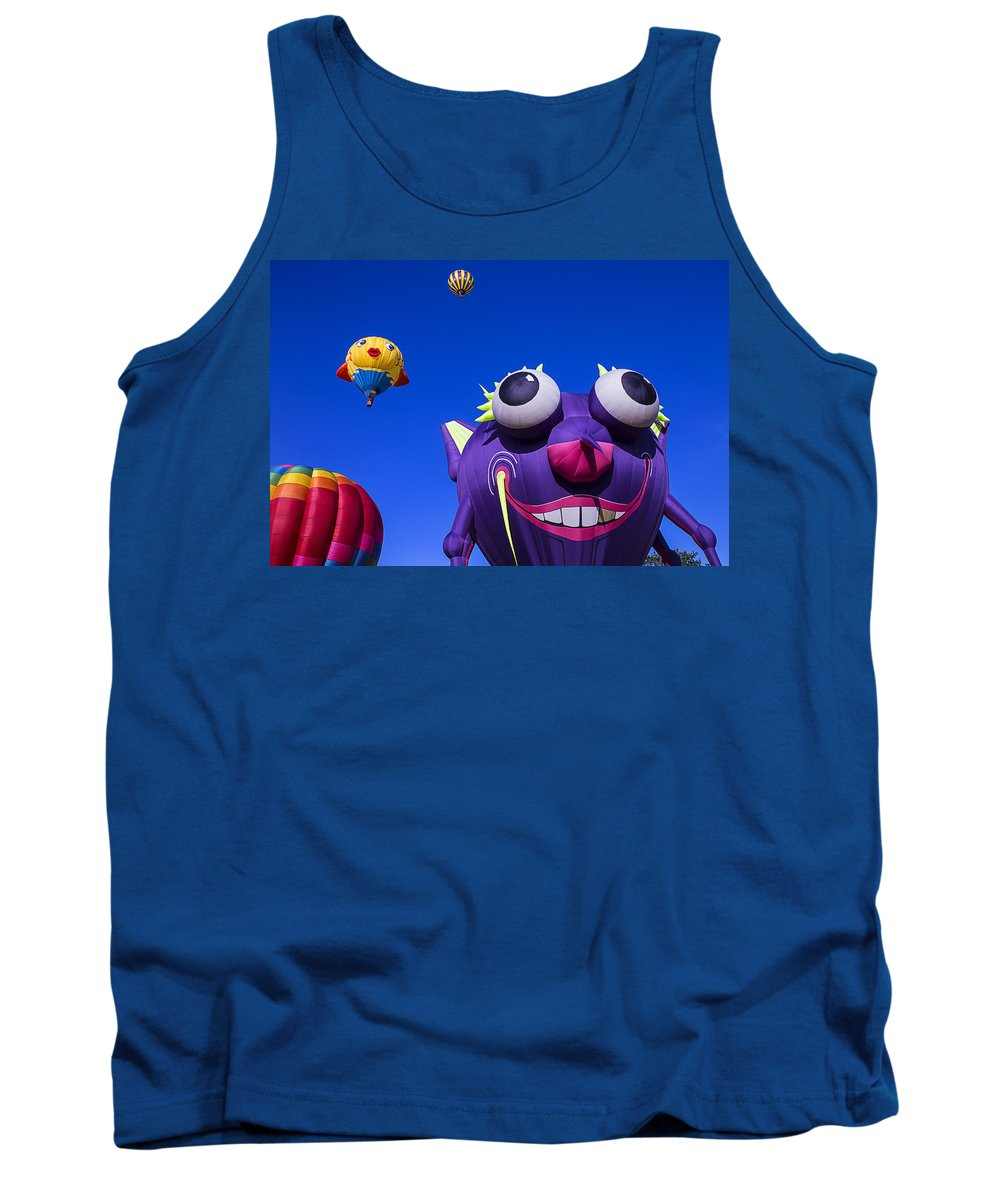 Purple People Eater Tank Top featuring the photograph Graphic Hot Air Balloons by Garry Gay