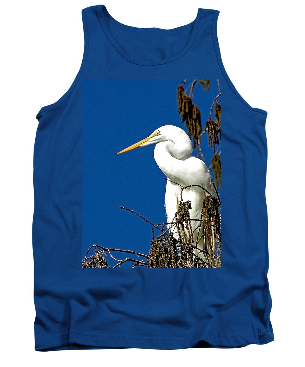 Great White Egret Tank Top featuring the photograph Great White Curves by Norman Johnson
