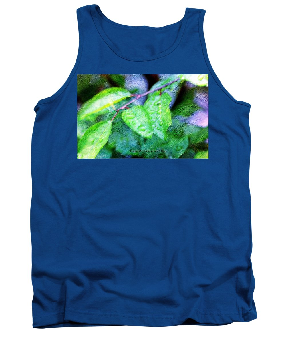 Green Tank Top featuring the photograph Green Leaf As A Painting by Karl Rose