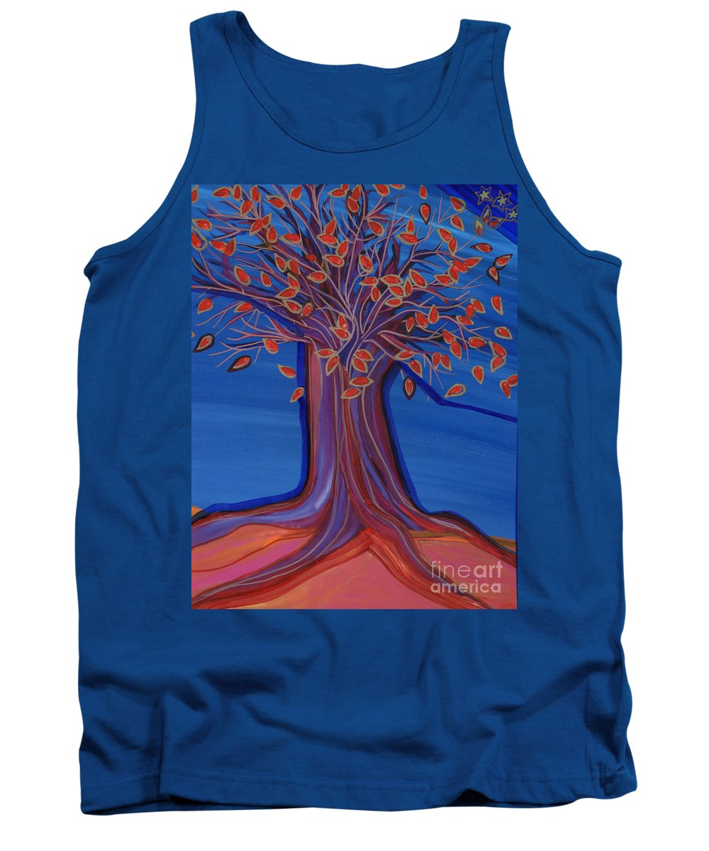 First Star Art Tank Top featuring the painting Green Leaves by First Star Art